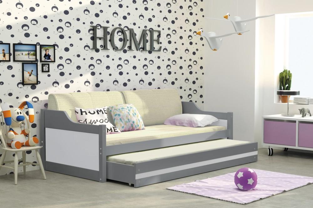 łóżko 2 Poziomowe Dawid Grafit 80x190