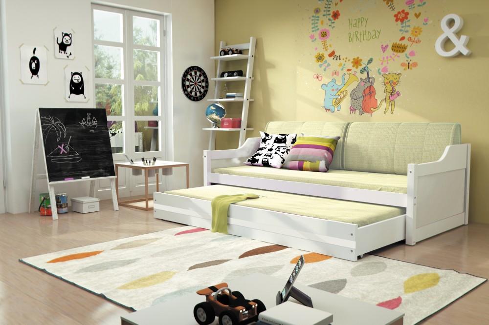 łóżko 2 Poziomowe Dawid Białe 80x190